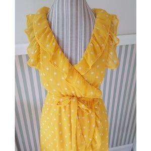 Forever 21 Yellow Polka Dot Ruffle Summer Dress M